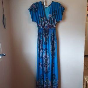 EUC BLUE PAISLEY BOHO MAXI EMPIRE WAIST DRESS S